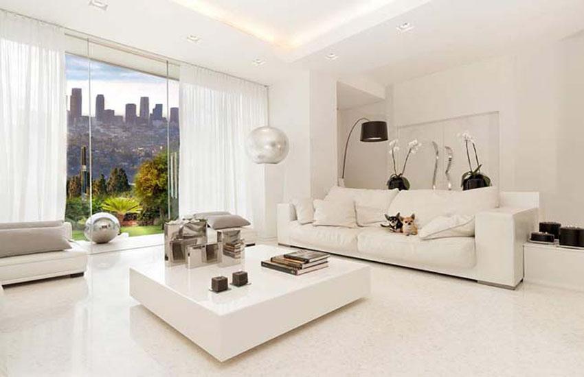 Màu trắng kem cho những phòng khách đón nhận nhiều ánh sáng