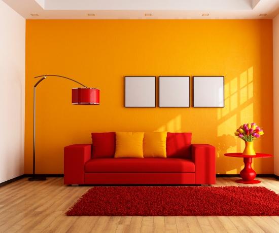 Sơn tường màu cam tinh tế